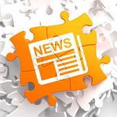 stock photo of mass media  - Newspaper Icon with News Word on Orange Puzzle - JPG