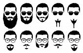 stock photo of goatee  - vector illustration silhouette male with mustache and beard - JPG