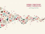 Merry Christmas Wave Composition Greeting Card