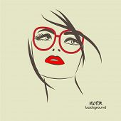 image of sketche  - art sketched beautiful girl face from the front with glasses in vector - JPG