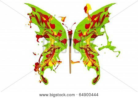 Green Red Yellow Paint Splash Made Butterfly