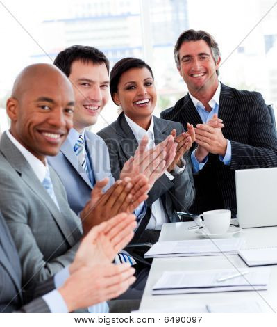 Team Of Successful Multi-ethnic Business People Applauding