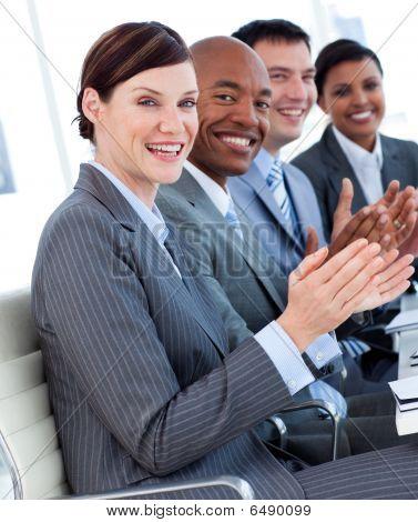 International Business Team Clapping A Good Presentation