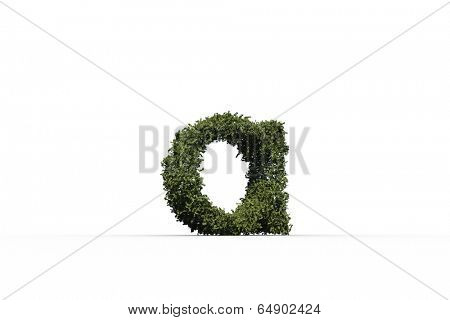 Lower case letter a made of leaves on white background