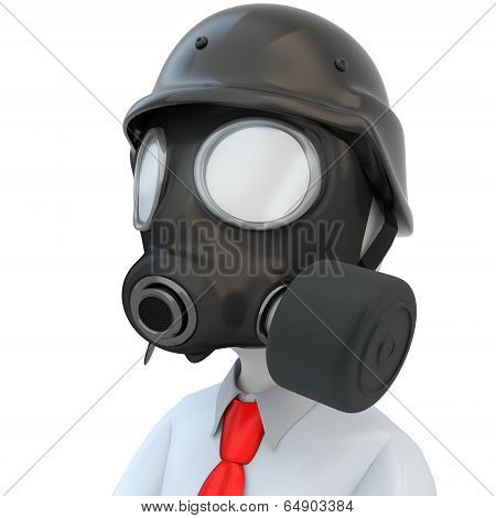 3D Close-up Of Business Man With Gas Mask