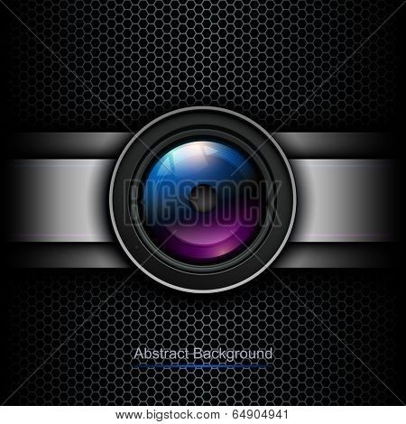 Background with photo lens icon on grill vector background texture.
