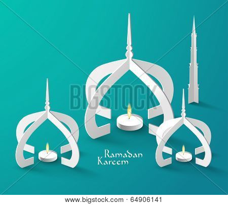 Vector 3D Muslim Paper Sculpture Oil Lamp. Translation: Ramadan Kareem - May Generosity Bless You During The Holy Month.