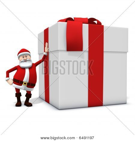Santa Leaning Against Big Present