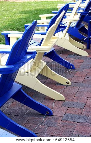 Blue and Yellow Adirondack Chairs