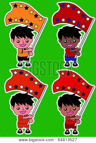 Vector cartoon soccer Sport Fan with Flag