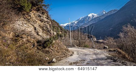 Road to Chopta Valley In Northern Sikkim, India