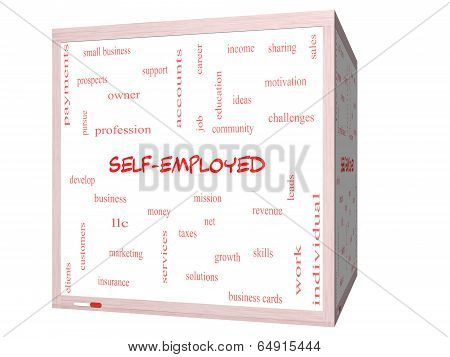 Self-employed Word Cloud Concept On A 3D Cube Whiteboard