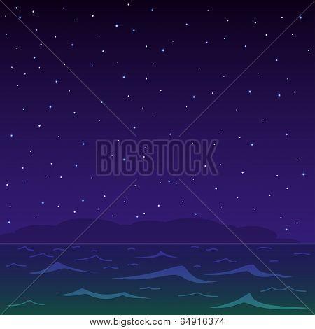 Night sea and star sky