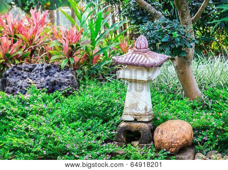 Japanese Style Garden With Stone Lantern