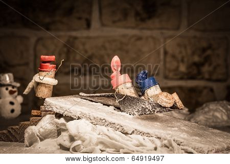 Wine Cork Figures, Concept Funny Sledging