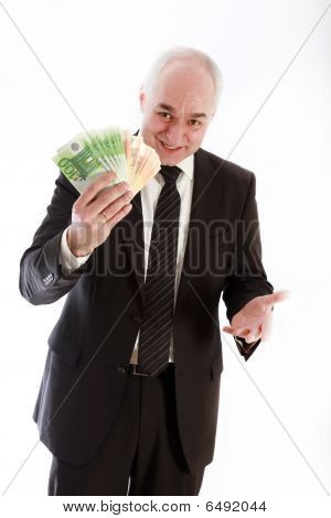 Friendly Man With Euro Notes In His Hand