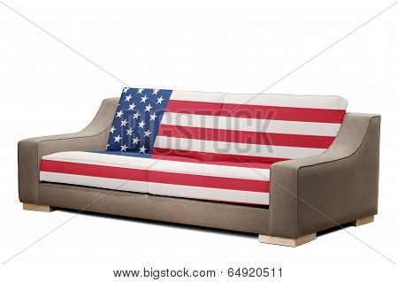 Modern Sofa With Usa Flag (clipping Path )