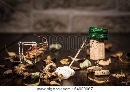 Wine Cork Figures, Concept Sweeping Foliage With A Broom