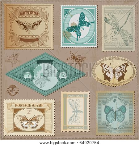 Vector Set: Vintage Post Stamps with Calligraphic Hand drawn Butterflies - for design and scrapbook