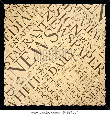 Old vintage newspaper vector background texture word cloud
