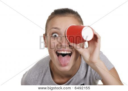 Girl Holds A Paper Glass In A Hand