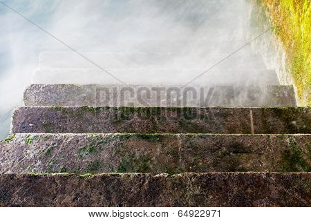 Stone Staircase Receding Into The Fog