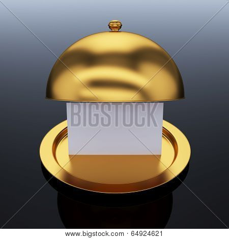 Golden Opened Cloche With Paper