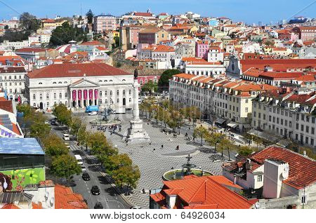 LISBON, PORTUGAL - MARCH 18: Aerial view of Rossio Square, with the National Theatre Dona Maria II in the front on March 18, 2014 in Lisbon, Portugal. The square is in the heart of Lisbon