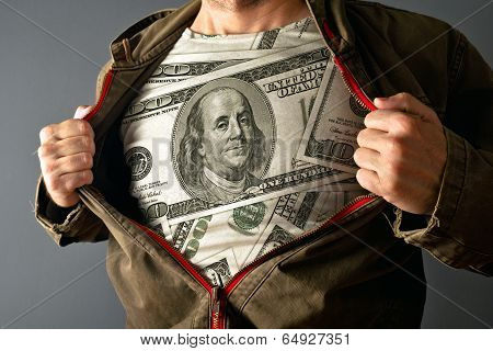 Man Wearing Dollar Shirt