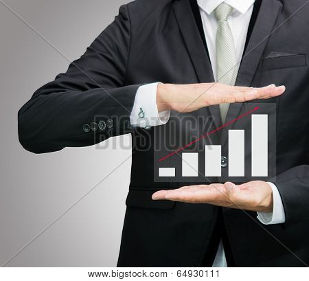 Businessman Standing Posture Hand Holding Graph Finance Isolated