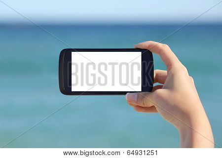 Woman Hand Showing A Blank Smart Phone Horizontal Screen Display