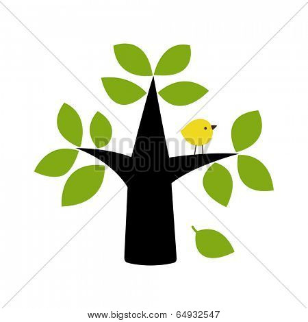 vector birds and tree card design