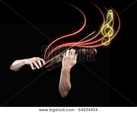 Hands Playing  Wooden Violin With Notes Flying