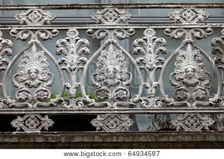 beautifully adorned iron balustrade of the balcony