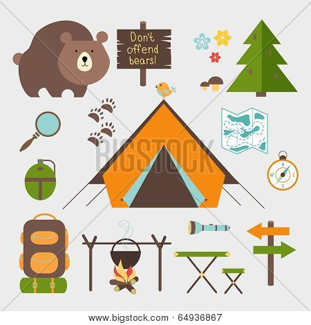 Vector icons forest camping set