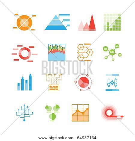 Graphs and charts icons or infographic elements