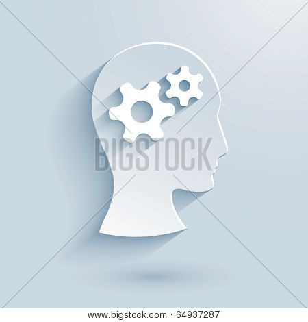 Human head with gears paper icon