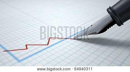 Fountain Pen Drawing Declining Graph