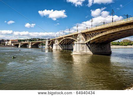Margaret Bridge Across The Danube River. Budapest, Hungary
