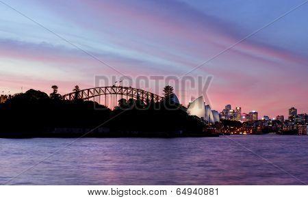 Sydney NSW , Australia - April  8, 2014; Pink And Red Sunset  Sky Over Sydney Australia