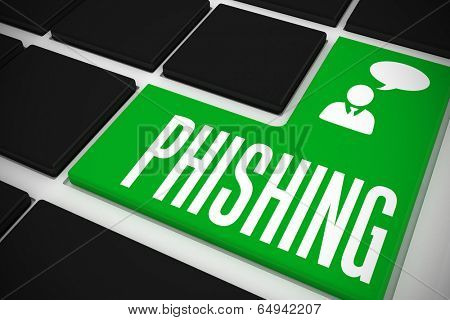 The word phishing and businessman and speech bubble on black keyboard with green key
