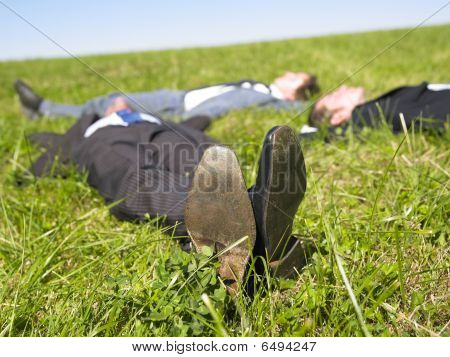 Businessmen Lying In The Grass
