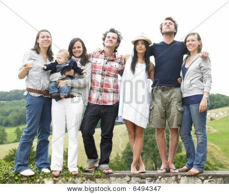 Group Of Friends Standing Outdoors