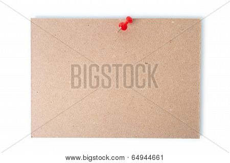 Single Piece Of Cardboard Pinned With A Thumb Tack With Clipping Path.
