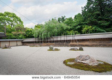 Famous Rock Garden Ryoanji in Kyoto, Japan.