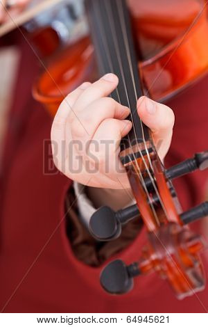 Girl Playing Violin - Chord On Fingerboard