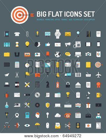 Web And Business Big Flat Icons Set