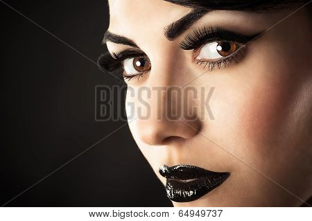 Model Face with Black Makeup