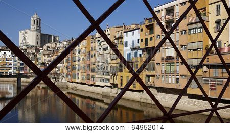 Spain. Catalonia. Girona. Oñar Colorful Facades And Cathedral.