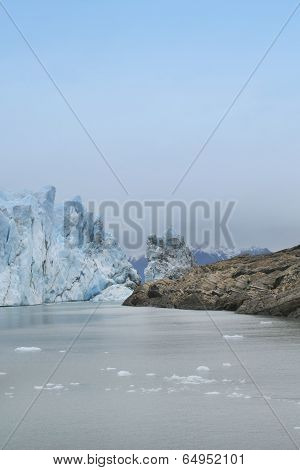 Patagonian Landscape With Glacier And Rocks